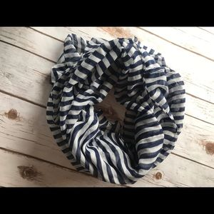 Navy and off white stripped infinity scarf
